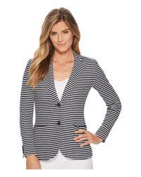 Lauren by Ralph Lauren - Blue Striped Knit Cotton Jacket - Lyst