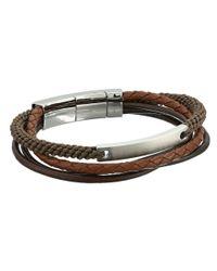 Fossil - Brown Defender Wide Leather Bracelet - Lyst