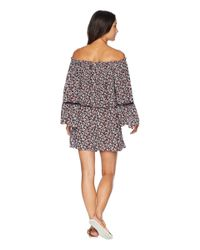 MICHAEL Michael Kors - Pink Mini Cherry Blossoms Off The Shoulder Romper Cover-up W/ Inset Ladder Trim - Lyst
