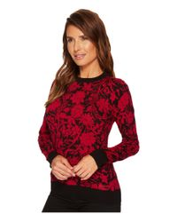 MICHAEL Michael Kors - Red Garden Galore Print Sweater Top - Lyst