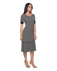 Lauren by Ralph Lauren - Striped Waffle-knit Cotton Dress (polo Black/mascarpone Cream) Women's Dress - Lyst