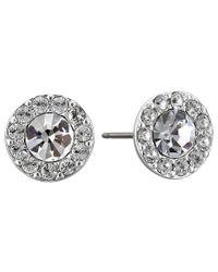 Lauren by Ralph Lauren - Metallic Small Round Pave Stud Pierced Earrings - Lyst