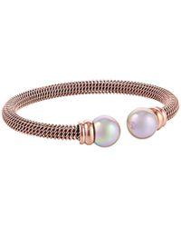 Majorica - Metallic Steel Bangle Bracelet - Lyst