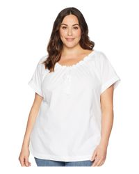 Lauren by Ralph Lauren - Plus Size 80s Cotton Broadcloth Short Sleeve Shirt (white) Women's Clothing - Lyst