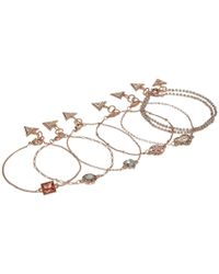 Guess - Metallic Set Of 7 Dainty Logo Bracelets - Lyst