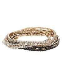 Guess - Metallic 10-piece Stone Stretch Bracelet Set (gold/jet) Bracelet - Lyst
