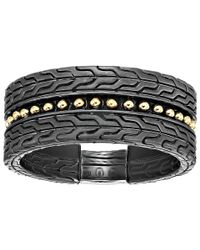 John Hardy - Metallic Chain Jawan 10mm Blackened Band Ring (blackened Silver/18k Gold) Ring for Men - Lyst