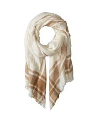 Lauren by Ralph Lauren - Multicolor Monogrammed Border Plaid Blanket Wrap (ivory/camel) Scarves - Lyst
