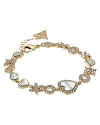 Guess - Metallic Xo Heart Line Bracelet - Lyst