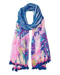 Lilly Pulitzer | Blue Palm Breeze Wrap | Lyst
