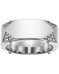 Michael Kors - Metallic Brilliance Banded Ring With Logo And Pave Crystal - Lyst