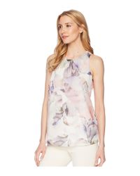 Vince Camuto - White Sleeveless Diffused Blooms Blouse - Lyst