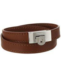 Ferragamo | Brown Leather Wrap Bracelet | Lyst