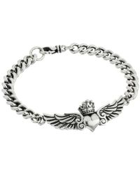 King Baby Studio | Metallic Curblink Bracelet With Winged Crowned Heart | Lyst