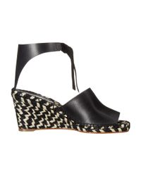 Proenza Schouler - Black Leather Ankle-tie Espadrilles - Lyst