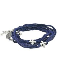 King Baby Studio - Blue Multi Wrap Indigo Silk Bracelet With Crosses - Lyst