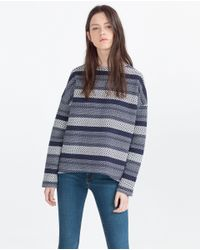 Zara | Blue Textured Sweatshirt | Lyst