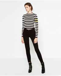 Zara | Black Cropped Striped Sweater | Lyst