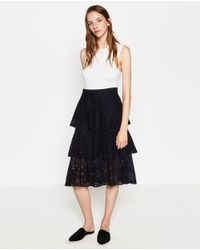Zara | Blue Frilled Lace Skirt | Lyst