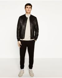 Zara | Black Faux Leather Bomber Jacket for Men | Lyst