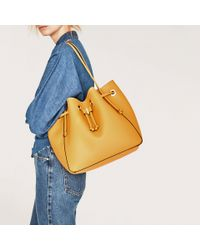 Zara | Yellow Convertible Bucket Bag | Lyst