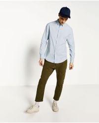 Zara | Blue Stretch Oxford Shirt for Men | Lyst