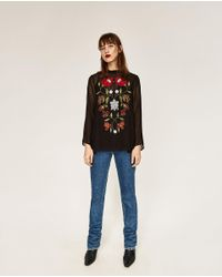 Zara | Black Embroidered Plumetis Blouse | Lyst