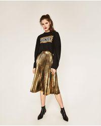 Zara | Multicolor Pleated Midi Skirt | Lyst