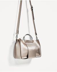 Zara | Mini Tote Bag With Metallic Handles | Lyst
