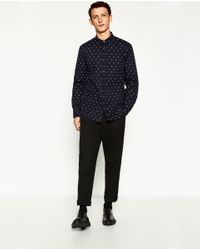 Zara | Blue Skull Print Shirt for Men | Lyst