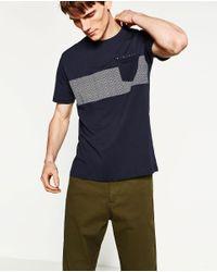 Zara | Blue Contrast Fabric T-shirt for Men | Lyst