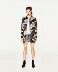Zara | Black Oversized Printed Bomber Jacket | Lyst