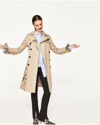 Zara | Natural Embroidered Trench Coat | Lyst