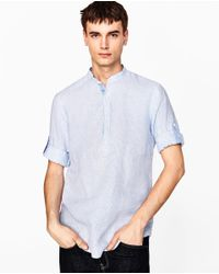 Zara | Blue Closed Linen Shirt With Rolled Tab Sleeves for Men | Lyst