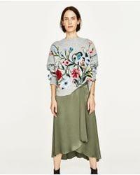 Zara | Green Long Asymmetric Skirt | Lyst