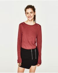 Zara | Red Long Sleeve T-shirt With Rips | Lyst