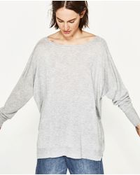 Zara | Gray Oversize Boat Neck Sweater | Lyst
