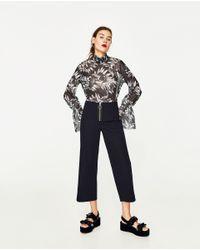 Zara | Multicolor Semi Sheer Printed Top | Lyst