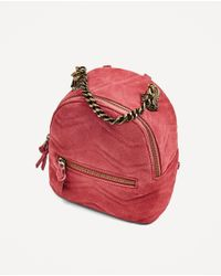 Zara | Red Leather Backpack With Wolves Detail | Lyst