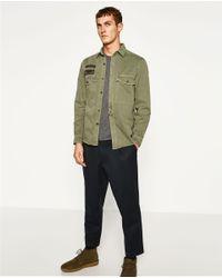 Zara | Green Military Overshirt for Men | Lyst