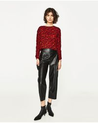 Zara | Multicolor Faux Leather Palazzo Trousers | Lyst