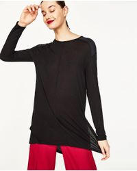 Zara | Black T-shirt With Side Slits | Lyst