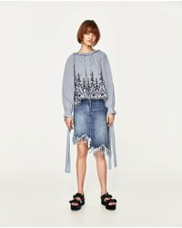 Zara | Blue Embroidered Striped Shirt | Lyst
