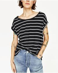 Zara | Black Short Sleeve T-shirt | Lyst