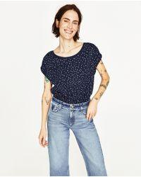 Zara | Blue Short Sleeve T-shirt | Lyst