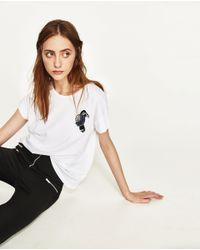 Zara | White Jewel T-shirt | Lyst