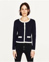 Zara | Blue Knit Cardigan | Lyst