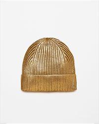 Zara | Metallic Knit Hat | Lyst
