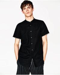 Zara | Black Mandarin Collar Shirt for Men | Lyst