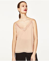 Zara | Natural Lace Camisole Top | Lyst